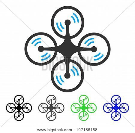Quadcopter Screw Rotation flat vector icon. Colored quadcopter screw rotation gray, black, blue, green pictogram versions. Flat icon style for web design.