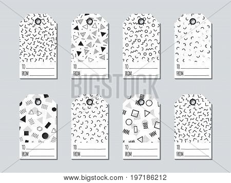 Gift tags and cards set with memphis elements. Collection of holiday label paper in black and white. Seasonal jumble badge sale design. Price tags and gift cards. Vector illustration. Texture. Print