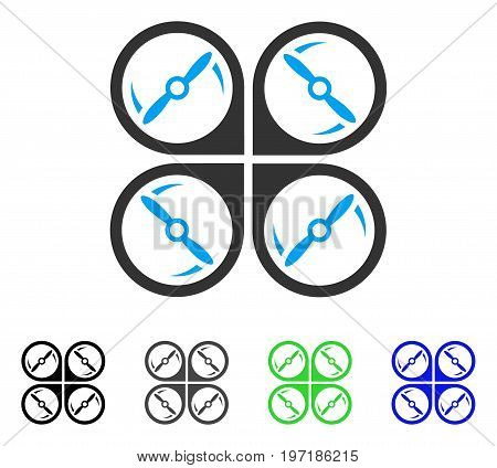 Quadcopter Screws Rotation flat vector pictograph. Colored quadcopter screws rotation gray, black, blue, green icon versions. Flat icon style for graphic design. poster