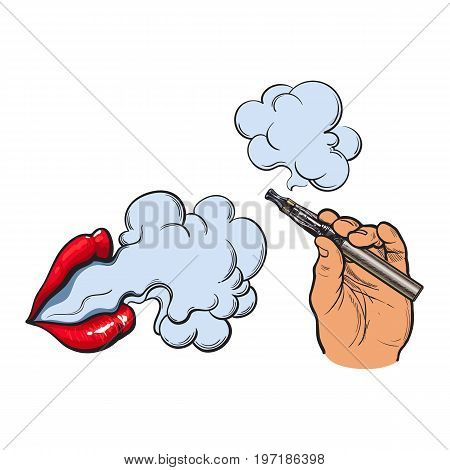 Smoking concept - smoke coming out of female lips and electronic cigarette in male hand, sketch vector illustration isolated on white background. Smoking female lips and male handwith e-cigarette