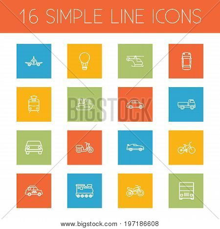 Collection Of Car, Lorry, Helicopter And Other Elements.  Set Of 16 Shipping Outline Icons Set.