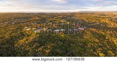 Aerial panoramic view of luxury homes in Rye suburb at sunset. Melbourne Australia