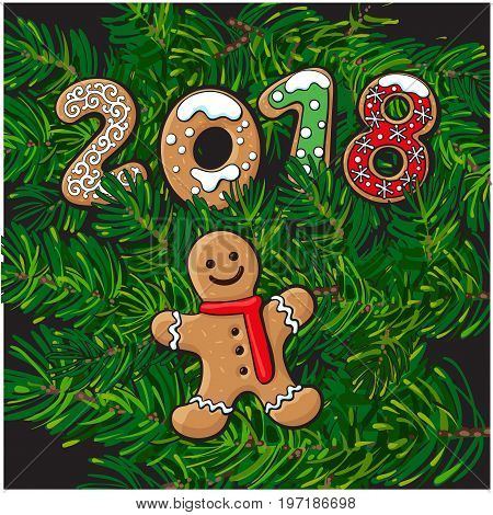 2018 Merry Christmas, New Year greeting card design with gingerman cookies on fir tree branches background. Christmas, New Year greeting card, banner with gingerman cookies, fir tree branches