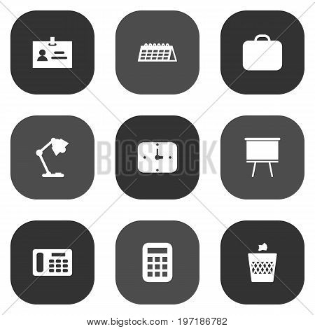 Collection Of Data, Case, Blackboard And Other Elements.  Set Of 9 Workspace Icons Set.