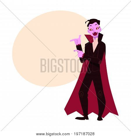Young man dressed as dracula, vampire, Halloween party costume, cartoon vector illustration with space for text. Man dressed as dracula, vampire, black cape and fangs, Halloween party costume