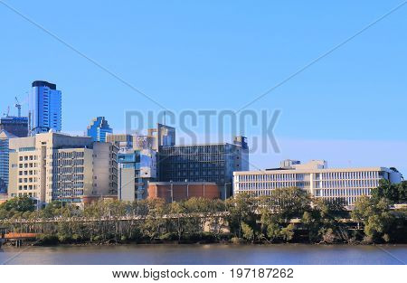 BRISBANE AUSTRALIA - JULY 8, 2017: QUT Queensland University of Technology. QUT Queensland University of Technology is a public research university located in downtown Brisbane