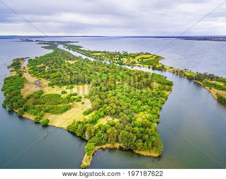 Aerial view of Silt Jetties at Gippsland Lakes Reserve Victoria Australia