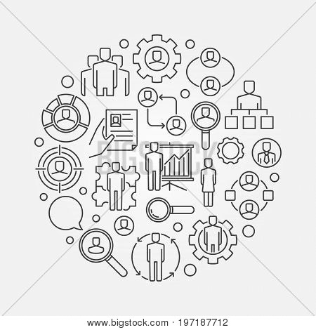 Human resources outline illustration. Vector recruitment and hiring symbol made with linear icons