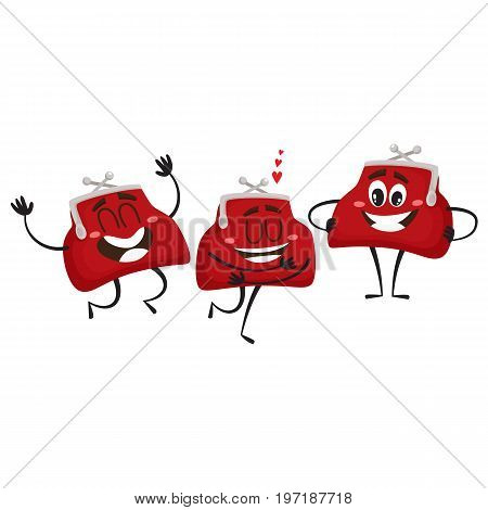 Vector money wallet characters set flat illustration isolated on a white background. Expressive in love, happy emotional full of money smiling wallets. Money, success wealth, poverty richness concept