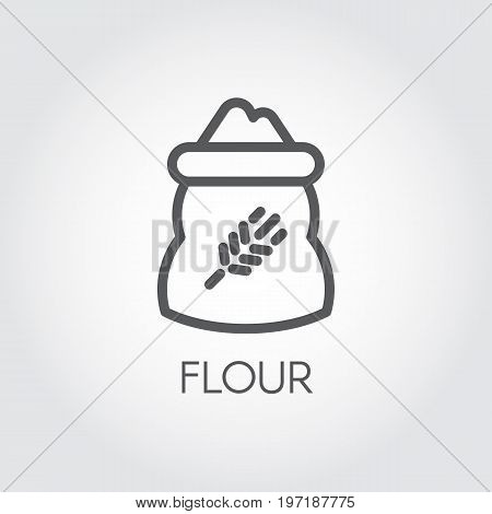 Line icon of bag with rye image full of flour. Ingredient for various recipes and product formulations. Vector symbol of cooking, harvest, culinary