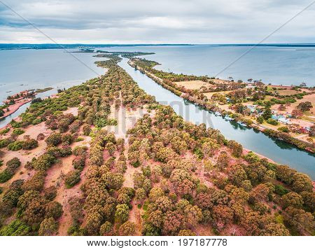 Aerial view of Mitchell River Silt Jetties Gippsland Australia