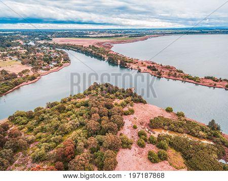 Aerial view of Eagle Point Gippsland Lakes Reserve Victoria Australia