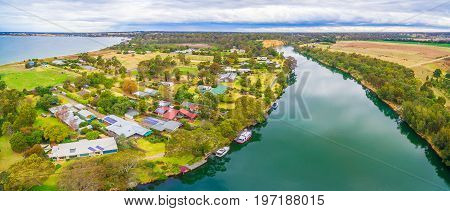Aerial panorama of Mitchell River and Eagle Point Bay Gippsland Australia