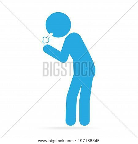 Man Coughing blue icon. Medical concept illustration