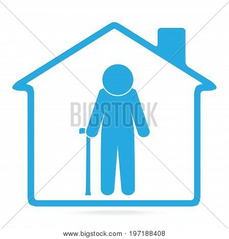 Nursing home for elderly man blue icon