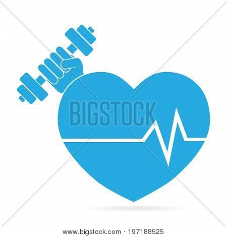 Heart and Hand holding with dumbbell blue icon. Strong Heart concept. Medical sign