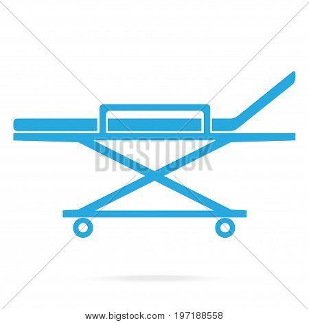Stretcher medical blue icon medical concept illustration