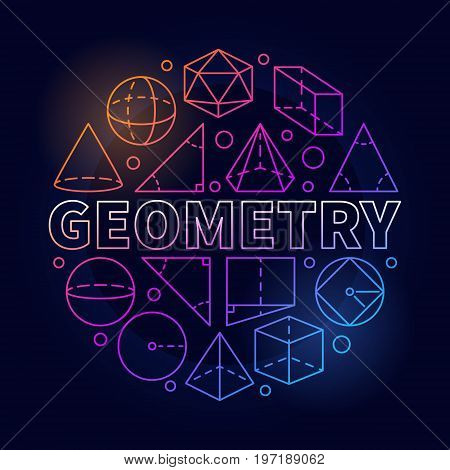 Geometry round colorful illustration. Vector circular linear symbol made with word GEOMETRY and geometric shapes on dark background