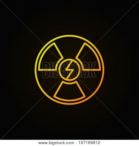 Nuclear energy outline yellow icon - vector radiation concept linear symbol or logo element on dark background