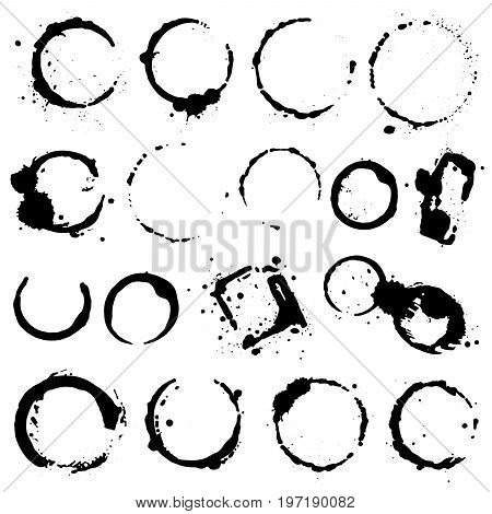 Grunge coffee stains. Ink wine water paint or other liquid cup stains. Design element. Spray splashes collection. Abstract vector illustration.