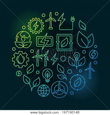 Renewable energy sources green illustration - vector round concept symbol made with wind, solar, water and biomass outline icons on dark background