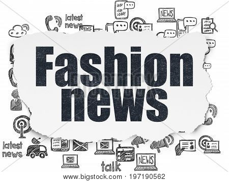 News concept: Painted black text Fashion News on Torn Paper background with  Hand Drawn News Icons