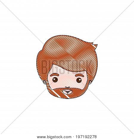 color crayon silhouette caricature closeup front view face bearded man with redhair and moustache vector illustration