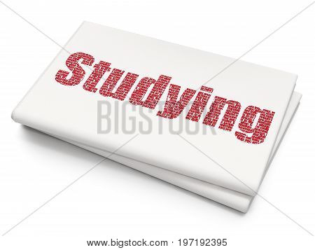 Studying concept: Pixelated red text Studying on Blank Newspaper background, 3D rendering