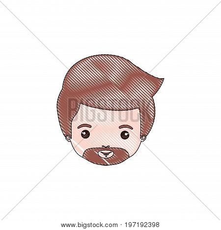 color crayon silhouette caricature closeup front view face man with van dyke beard vector illustration