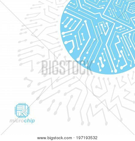 Futuristic cybernetic scheme vector motherboard illustration. Digital element circuit board. Technology innovation abstract background