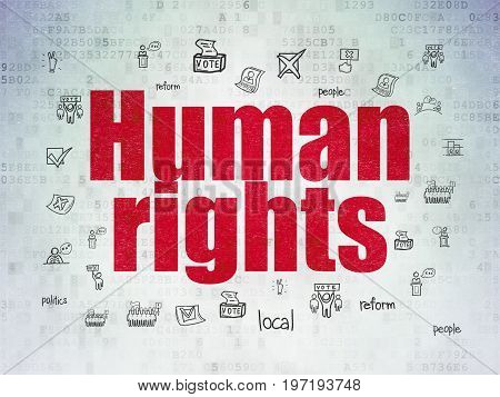 Political concept: Painted red text Human Rights on Digital Data Paper background with  Hand Drawn Politics Icons