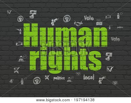 Politics concept: Painted green text Human Rights on Black Brick wall background with  Hand Drawn Politics Icons