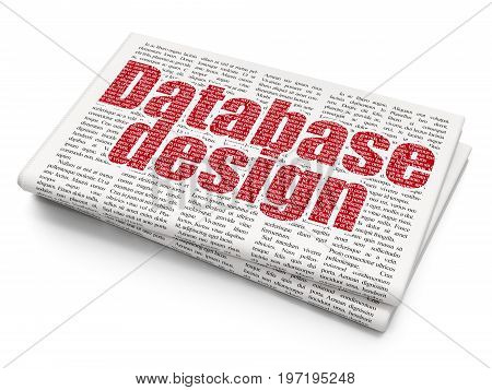 Programming concept: Pixelated red text Database Design on Newspaper background, 3D rendering