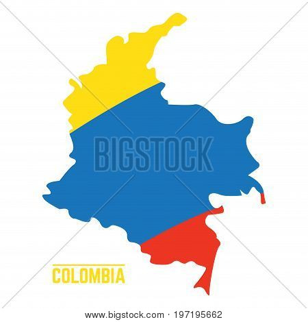 Flag and map of Colombia, Vector illustration