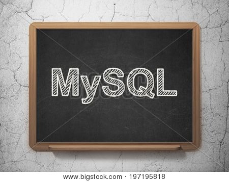 Software concept: text MySQL on Black chalkboard on grunge wall background, 3D rendering