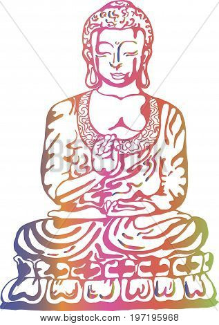 Buddha in meditation in the style of street art. Colorful vector illustration of a black and white buddha