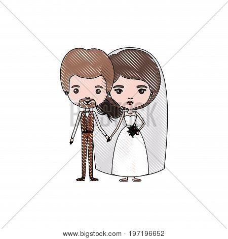 color crayon silhouette caricature newly married couple in wedding suits vector illustration