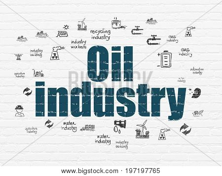 Industry concept: Painted blue text Oil Industry on White Brick wall background with  Hand Drawn Industry Icons