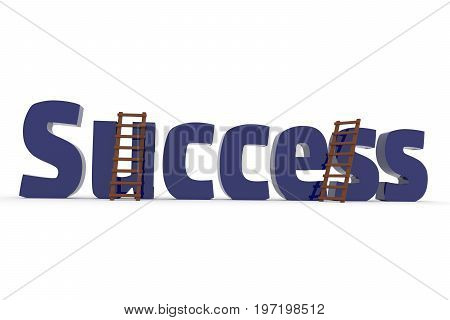 The word success with two ladders on a white background business concept image 3d rendering