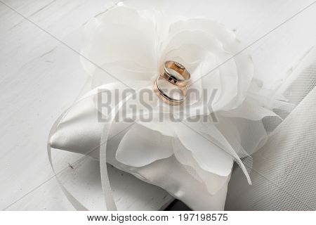 Wedding cushion with rings.