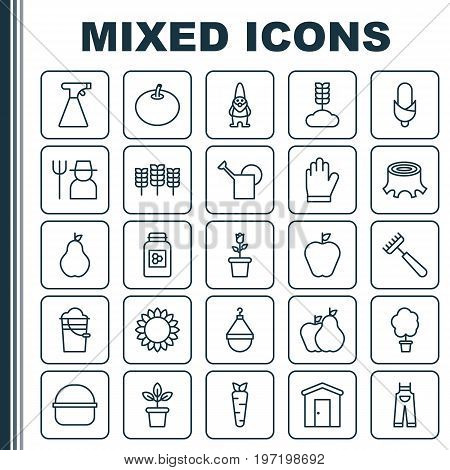 Farm Icons Set. Collection Of Tree Stub, Helianthus, Garden Clothes And Other Elements