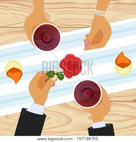 Romantic lovers dating. Male and female hands, Couple at restaurant or coffee shop. Vector illustration eps 10