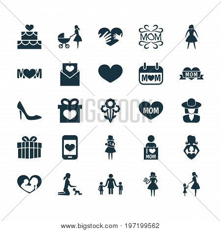 Mothers Day Icon Design Concept. Set Of 25 Such Elements As Gift, Design And Female