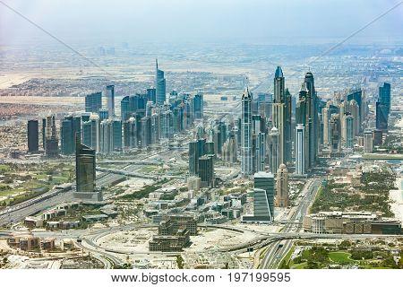 Aerial View Of Dubai Marina Cityscape United Arab Emirates