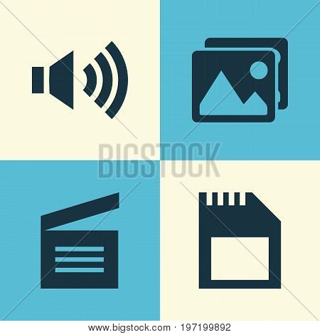 Media Icons Set. Collection Of Megaphone, Memory, Clapperboard And Other Elements