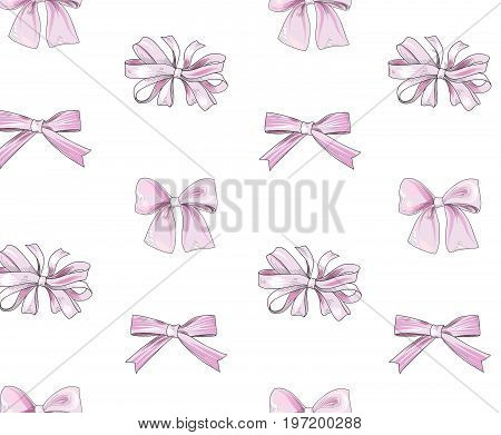 Bow tiled pattern. Bride team bo icons. Holiday gift wallpaper. Girlish fashion white background.