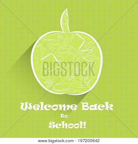 Green Apple Fruit Shape as Symbol of Knowledge with Numerous School Stuff Inside, Hand Drawn Digitally in White Outline and Placed on the Background Imitating Copybook in Cages. Vector EPS 10