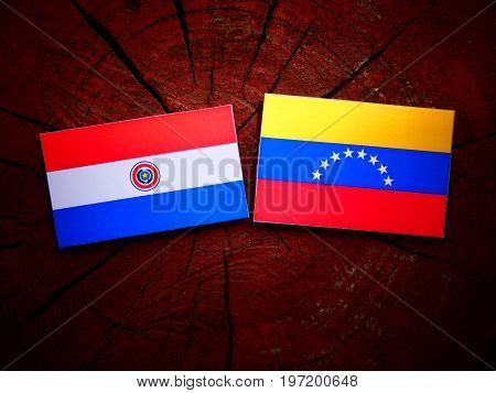 Paraguay Flag With Venezuelan Flag On A Tree Stump Isolated