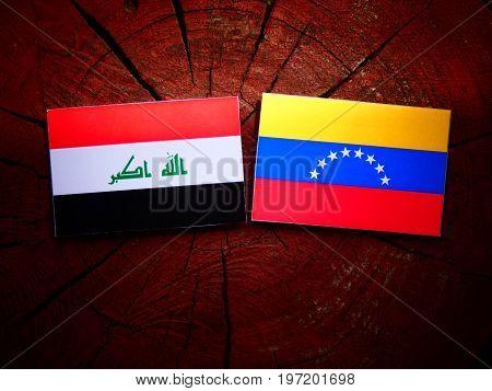 Iraqi Flag With Venezuelan Flag On A Tree Stump Isolated