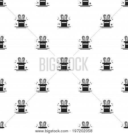 Magic trick seamless pattern. Rabbit in magician black hat cylinder print. Decor elements thin icons. Vector illustration. Line background. Texture for wrapping paper, textile. Circus magic party